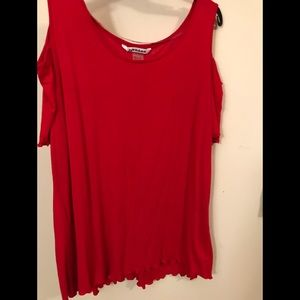 NYGARD Red Cold shoulder top